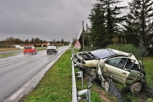 a car crashed into the ditch